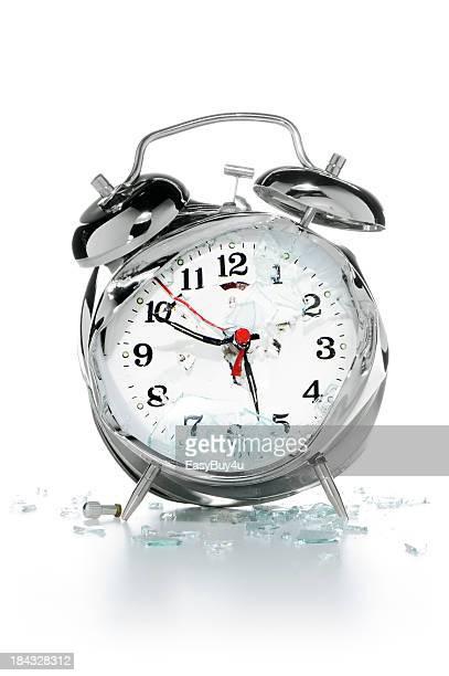Smashed alarm clock