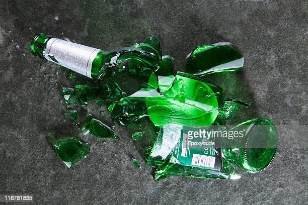 A smashed beer bottle