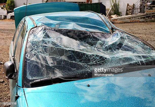 Smashed Broken Car Windshield After Accident