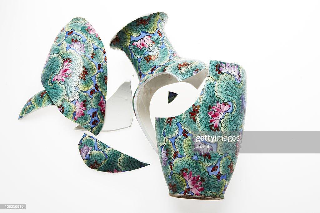 Smashed Chinese Vase : Stock Photo
