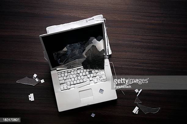 Smashed laptop