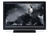 Smashed up flat screen HDTV.