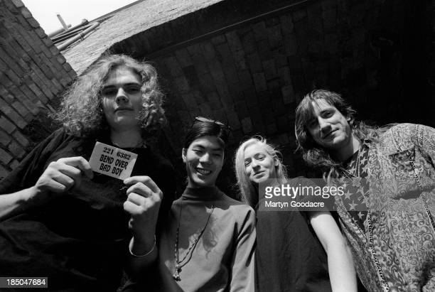 Smashing Pumpkins group portrait including Billy Corgan Jimmy Chamberlin James Iha and Darcy Wretzsky Notting Hill London United Kingdom 1992