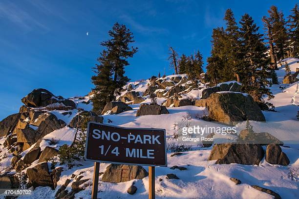 A smattering of snow can be found along California Highway 88 near Carson Pass on April 12 near South Lake Tahoe California As the drought enters its...