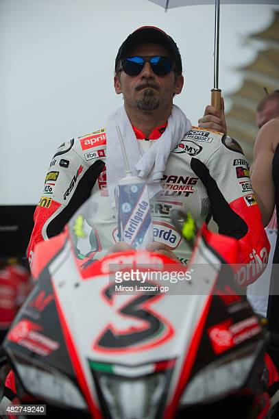 SMax Biaggi of Italy and APRILIA preapres to start on the grid during the Race 2 during the FIM Superbike World Championship Race at Sepang Circuit...