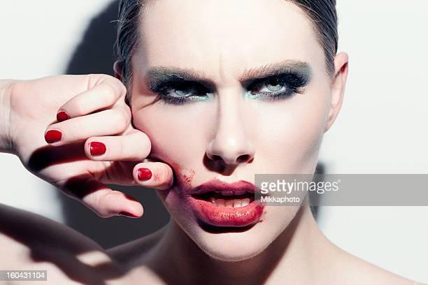 Smeared rouge à lèvres