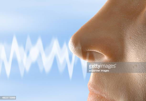 A smell moving towards a human nose