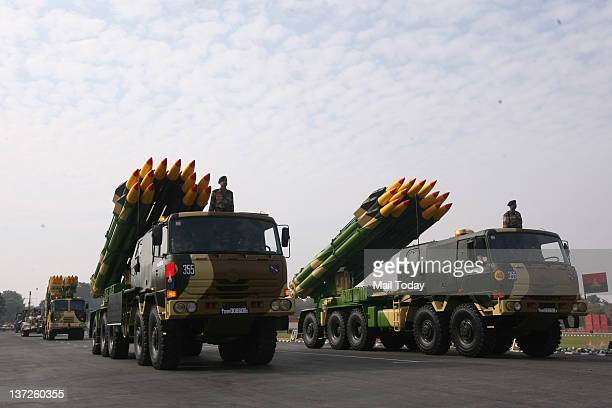 Smerch multi barrel rocket launchers participate in the parade on the occasion of the Indian Army Day in New Delhi India Sunday January 15 2012