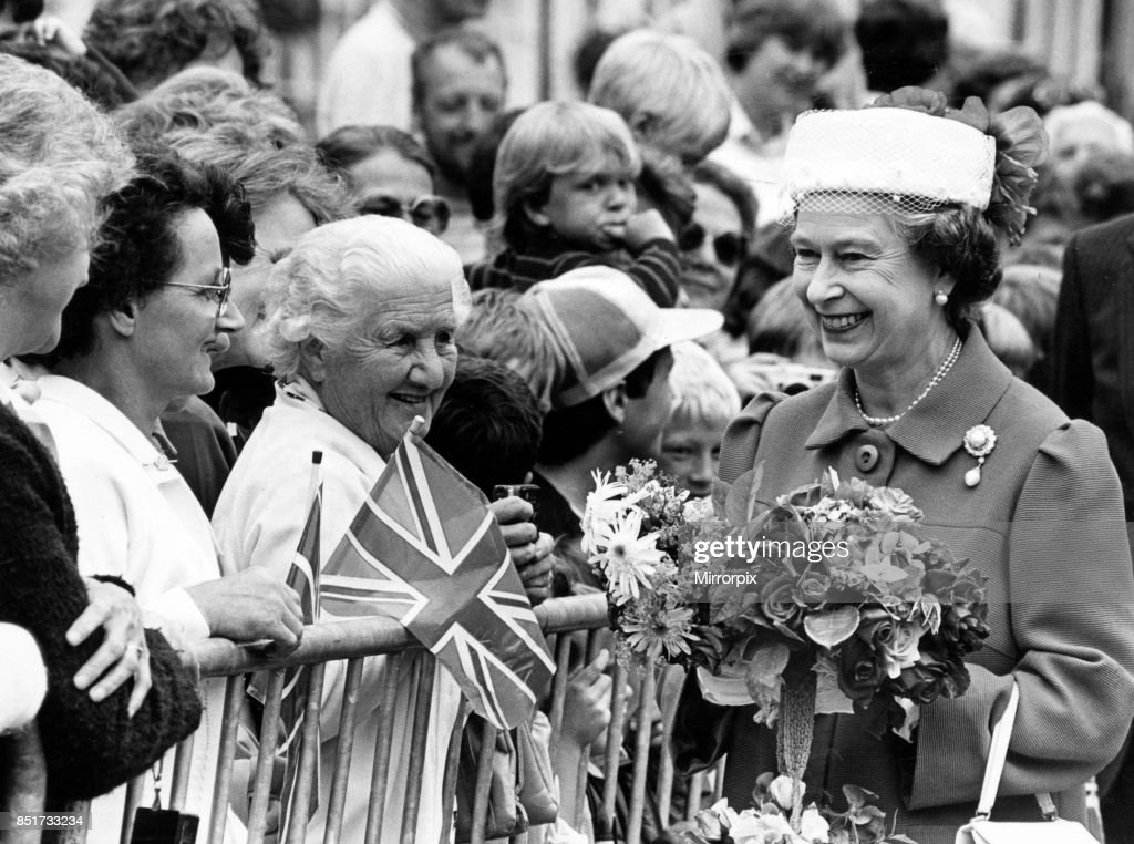 A smile from the Queen during her walkabout in Montgomery, Wales, 12th July 1986.