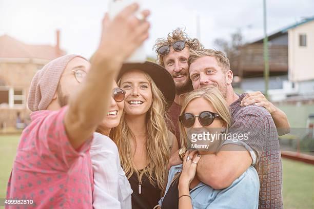 Smile Together Having Fun Shooting Selfies Best Friends