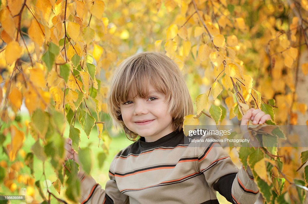Smile with autumn leaves : Stock Photo