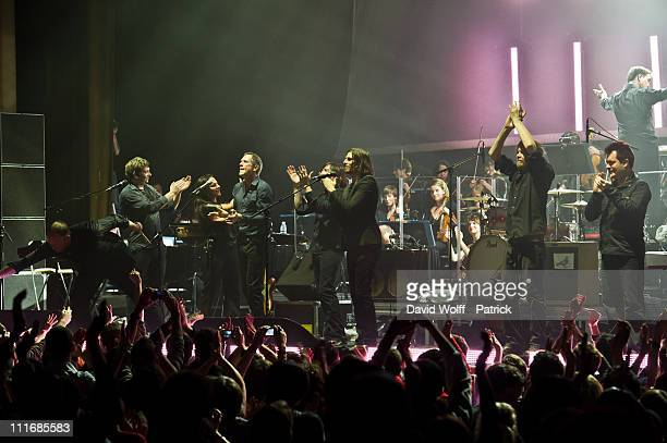 Smiley Darius Keeler Maria Q Steve Harris Pollard Berrier Dave Pen Danny Griffiths and Jonathan Noyce performs at Le Grand Rex on April 5 2011 in...