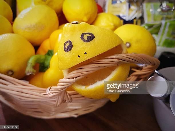 Smiley Face On Lemon In Basket