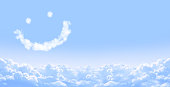 Horizontal banner with smilie from cloud and white clouds in the blue sky
