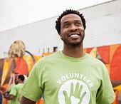 Smiling African American volunteer