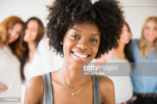 Smiling African American woman : Stock Photo