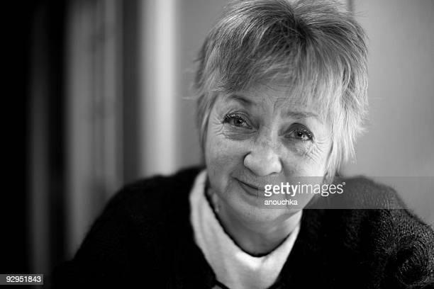 smiling aged woman portrait
