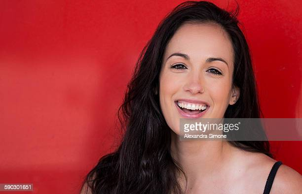 Smiling and Happy Brunette Woman