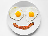 Smiling and positive face made from fried eggs and bacon on plate. This is the typical breakfast in a low-carb high-fat Keto (Ketogenic) or Paleo diet which can help with weight loss and overall well