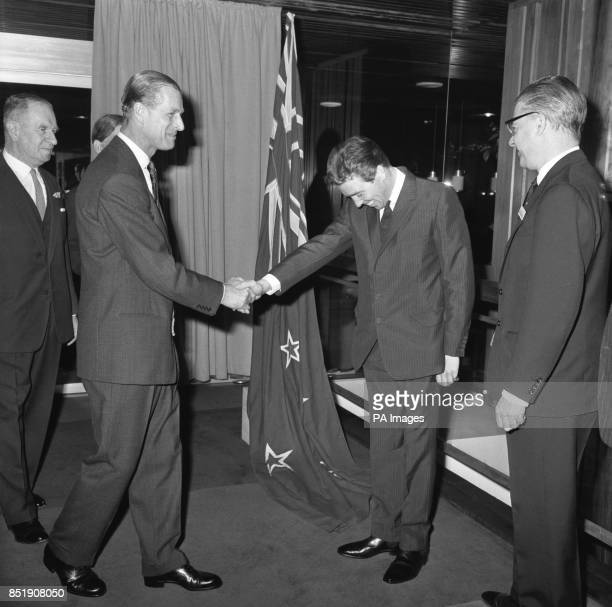 Smiling and with his head bowed Lord Snowdon shakes hands with his brotherinlaw Prince Philip The Duke of Edinburgh at New Zealand House London The...