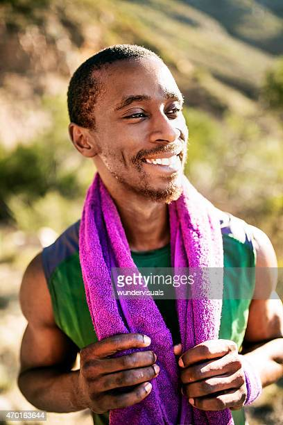 Smiling athlete feeling good about his training session