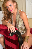Smiling beautiful spanish woman in lingerie