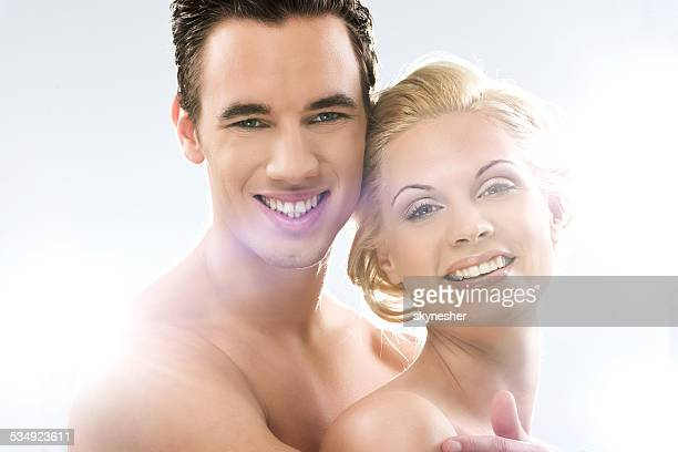 Smiling beauty couple.