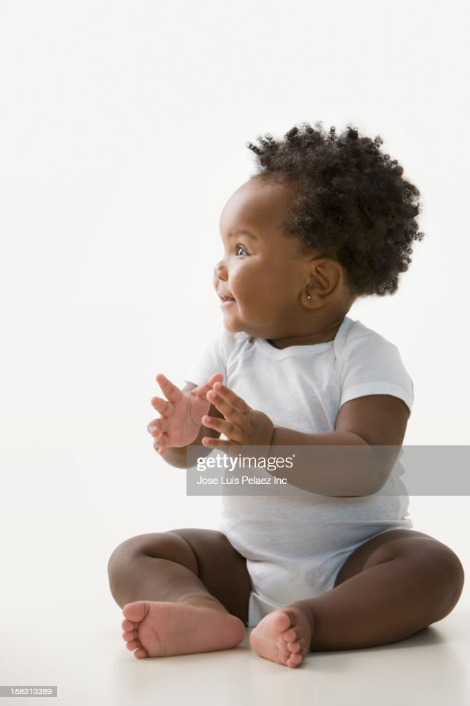 Smiling Black baby girl : Stock Photo