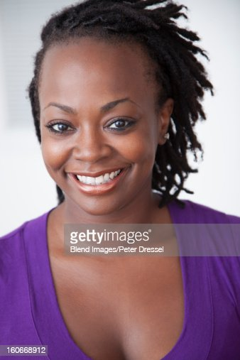 Smiling Black woman : Stock Photo