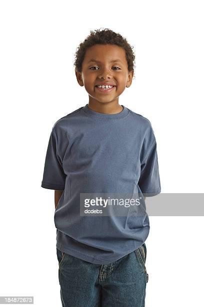 Smiling Boy In Blank Shirt