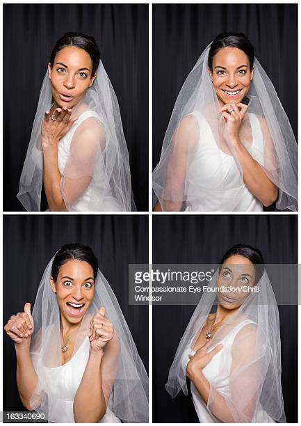 Smiling bride in photo booth