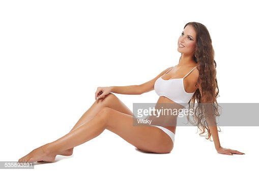 Smiling brunette with healthy tanned skin : Stockfoto