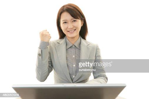 Sonriente mujer de negocios : Foto de stock