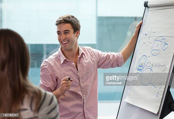Smiling businessman at flipchart
