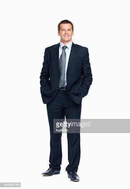 Smiling businessman posing on white background