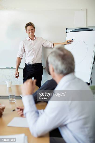 Smiling businessman presenting to colleagues in board room