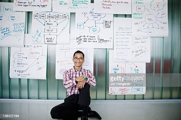 Smiling businessman sitting on floor