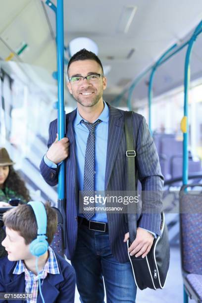 Smiling businessman travel to work