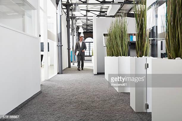 Smiling businessman walking in modern office