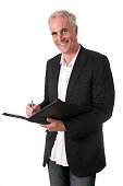 smiling businessman with notebook