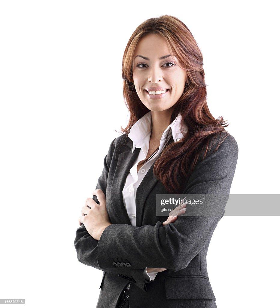 Smiling businesswoman on white