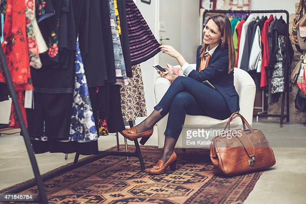 Smiling businesswoman shopping