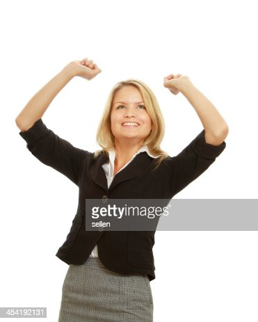 Sorridente Mulher de negócios com as mãos para cima : Foto de stock