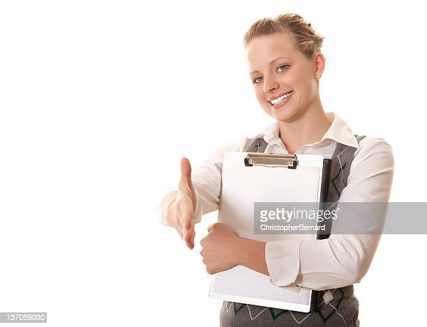 Smiling businesswoman with handshake