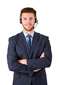 Smiling call center employee on white background isolated