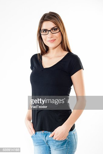 Smiling casual female in jeans and black t-shirt : Stock Photo