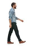 Smiling casual man walking