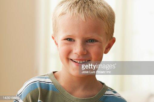 Smiling Caucasian boy : Stock Photo