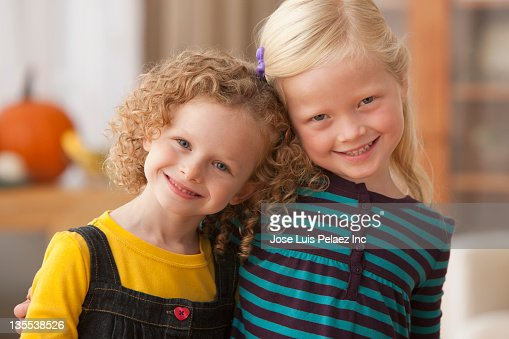 Smiling Caucasian girls : Stock Photo