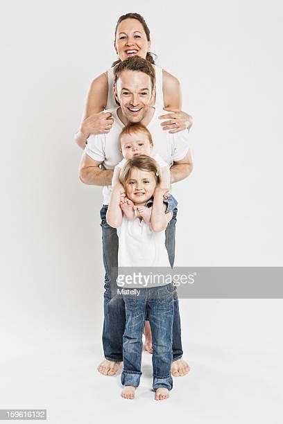 Smiling children posing together